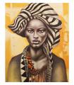 Cuadro retrato africana con pañuelo