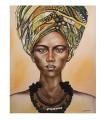 Cuadro retrato mujer con paño africano