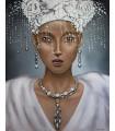 Cuadro retrato de mujer con perlas